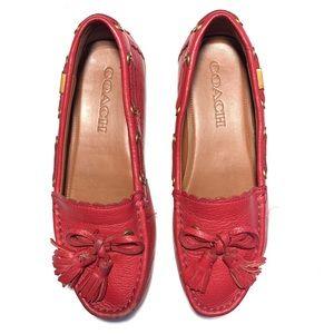 Coach Red Leather Tassel Greenewich Loafers
